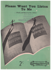 Please Won't You Listen To Me (1945) song by Eric Aitken Australian songwriter 