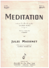 Meditation (based on a theme from 'Thais') by Jules Massenet arranged Alfred Wheeler 