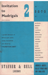 Invitation To Madrigals Book 2 For SATB A graded selection of 20 four-part works newly transcribed and edited by Thurston Dart 