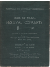 Australia's 150th Anniversary Celebrations 1936 Festival Concerts Book of Music 