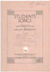 Students' Songs Book 1 arranged Leslie Woodgate (1937) used choral song book for sale in Australian second hand music shop
