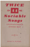 Twice 44 Sociable Songs arranged Geoffrey Shaw used choral song book for sale in Australian second hand music shop