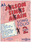 Al Jolson Sings Again Song Folio No.2 piano songbook used song book for sale in Australian second hand music shop