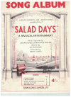 Salad Days Song Album piano songbook (1954) Julian Slade Dorothy Reynolds used piano song book for sale in Australian second hand music shop