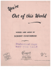 You're Out Of This World (1945) Robert Couchman Australian songwriter used piano sheet music score for sale in Australian second hand music shop