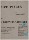 Five Pieces For Pianoforte (Gavotte London Bridge and 3 other un-named pieces) by H Balfour Gardiner (1923) used piano book for sale in Australian second hand music shop