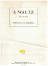 Waltz for piano by Bernard R de Oleveira (1966) used original piano sheet music score for sale in Australian second hand music shop