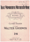 That Wonderful Mother of Mine song from Petticoat Fair original 1918 piano sheet music score for sale in Australian second hand music shop