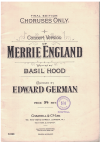 Merrie England Concert Version Choruses Only by Basil Hood Edward German Final Edition 