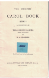 The Descant Carol Book Book 1 A Collection Of Well-Known Carols With Descants by H A Chambers Novello 