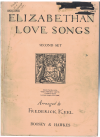 Elizabethan Love Songs Second Set High Voice arranged Frederick Keel piano songbook used piano song book for sale in Australian second hand music shop