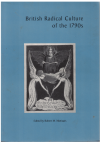 British Radical Culture Of The 1790s (2002) editor Robert M Maniquis ISBN 0873281969 used book for sale in Australian second hand bookshop